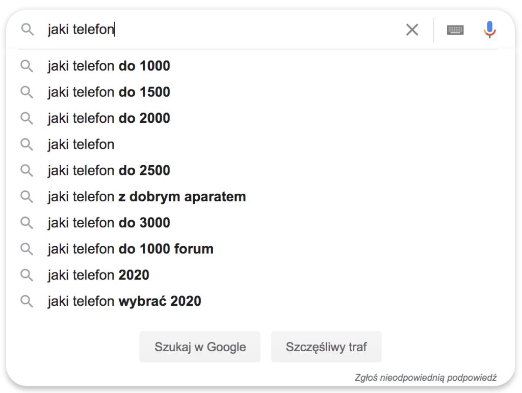 Jaki Telefon - podpowiedzi Google